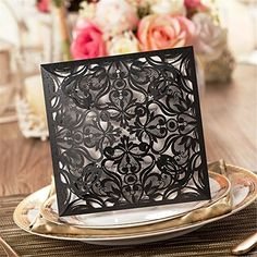 Wishmade 100 X Black Color Square Laser Cut Wedding Invitations Cards Card Stocks For Engagement Birthday Party Baby or Bridal Shower CW519_BL