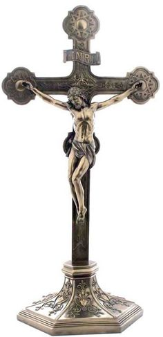 Crucifix On The Stand Religious Figurine Statue Sculpture Statuary-Home Décor-Decorations-Christian Related Gifts-Available for Sale at AllSculptures.com