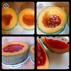MELONBERRY yum!!! In Spanish but pictures are easy to understand. Just use 3 cups of water instead of 4 for one Jello pack