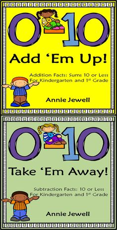 Math Facts 0 – 10 Add 'Em Up! and Take 'Em Away? BUNDLE***Addition and Subtraction Facts***Kindergarten and 1st Grade***Build Math Fluency. Great for morning work, homework, math centers, independent work.  ***40 Pages of Addition Facts ***40 Pages of Subtraction Facts ***Generic Clip Art for Use Anytime During the Year ***Includes Horizontal and Vertical Problems COMMON CORE:  K.OA1, K.OA5, 1.OA6, 1.OA8