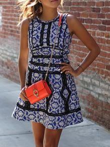Blue Folk Print Dress With Contrast Trims