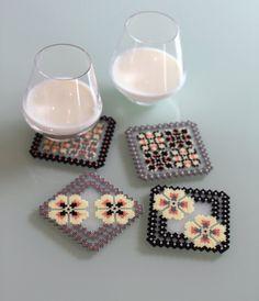 CUSTOMIZABLE Coasters grey black x 4 / replace the by Leminussieu