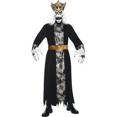 Demonic King Costume - Includes Robe, Belt, Latex Hands and Latex Mask with Hair & Crown -  Available in Med 38-40 chest and Large 42-44 chest    -     £ 35.99