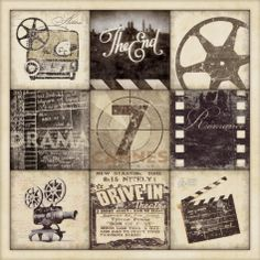 Just got this for the guest room/ movie room! Vintage Movie Print by Stephanie Marrott at Art.com