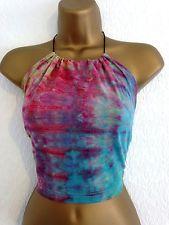 VINTAGE RENEWAL Tie Dye Halterneck Beaded Crop Top Hippie Boho Hipster S 8 10