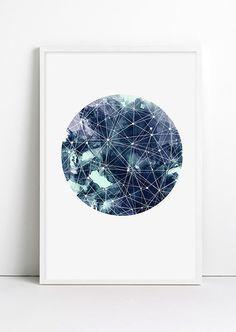Geometric Art Moon Galaxy Sky Space Stars Print Geometric by Fybur, $12.00