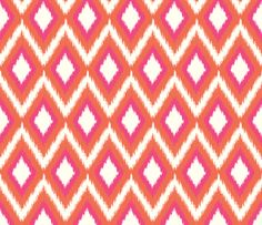 Pink and Coral Tribal Ikat Chevron fabric by sweetzoeshop on Spoonflower - custom fabric