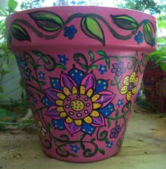 Hand Painted Flower Pot by LotsAndLotsOfPots on Etsy