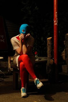 Moscow: a member of the Russian female punk group Pussy Riot waits for an interviewPhotograph: William Webster/Reuters