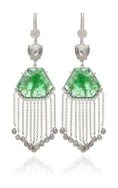 18K white gold slice emerald and organic diamond briolet earrings with diamond fringe by Nina Runsdorf