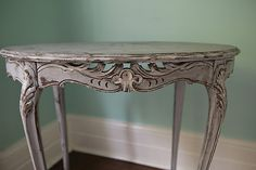 oval french table antique shabby chic gray white distressed entry side cottage grey beach vintage prairie