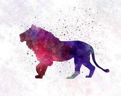 Lion 01 In Watercolor Print by Pablo Romero Watercolor Lion Tattoo, Watercolor Sketch, Watercolor Animals, Watercolor Print, Watercolor Illustration, Watercolor Paintings, Leo Tattoos, Lion Painting, Lion Logo