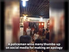 A policeman in Chongqing, SW China wins praise for making an apology after nabbing a suspect at a restaurant. Many give the thumbs-up on China's social media after watching a video clip filmed by a witness.