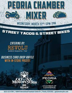 Welcome GO AZ Motorcycles Peoria to Peoria Monthly Celebrate and Connect #GOAZMotorcycles have an open to the public event tonight from 5-7pm 16844 N. Arrowhead Fountains Center Dr. Peoria, AZ 85382 goazmotorcycles.com (623) 322-6700 This is a Peoria Chamber of Commerce, Arizona event and Revolu modern taqueria + bar will be catering some delicious food so you definitely don't want to miss out! Remember, you DON'T have to be a member to attend this FREE event!  #Peoria