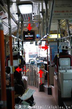 1-下一個停車的站名 2-停車按鈕 3-運賃箱 4-公車的停車資訊