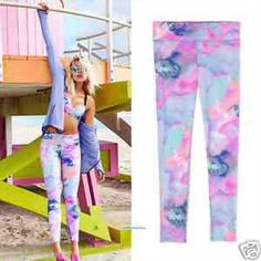 PINK Watercolor Marbel Pastel Leggings NWT. Size Medium I DONT TRADE PINK Victoria's Secret Pants Leggings