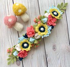 Felt Craft Projects - Animals, Flowers, Food For Kids. Felt Roses, Felt Flowers, Fabric Flowers, Paper Flowers, Felt Headband, Headbands, Felt Crown, Felt Baby, Felting Tutorials