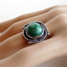 Vintage Sterling Silver and Green Turquoise Ring  by vintagedazzle