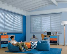 Help to block out harmful UV rays, or open to let the light shine in this young boys bedroom––Nantucket™ window shadings ♦ Hunter Douglas window treatments Kids Window Treatments, Window Coverings, Hunter Douglas, Creative Kids Rooms, Custom Blinds, Window Styles, Kids Room Design, Kid Spaces, Boy Room
