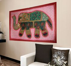 CHRISTMAS HANDMADE ELEPHANT BOHEMIAN PATCHWORK WALL HANGING EMBROIDERED TAPESTRY #Unbranded