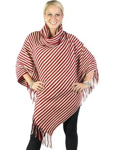 Magic Scarf Cowl Neck Striped Poncho - $48 - Available in Gray and Red.