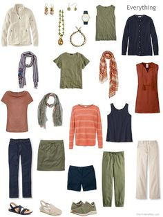 a summer travel capsule wardrobe in navy, beige, olive and rust