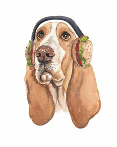 Title: Hamburger Hound Warm hamburgers make perfect ear muffs. I dare you to try it yourself. This is an 8x10 PRINT of my original basset