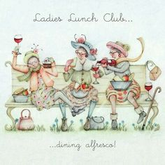 illustration ladies who lunch Albert Dubout, Desenho Pop Art, Ladies Who Lunch, Crazy Friends, Happy Birthday Funny, Art Impressions, Funny Cards, Whimsical Art, Friends Forever
