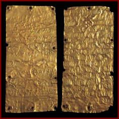 Gold plates with Phoenician  and Etruscan writing