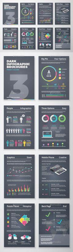 Dark Infographic Brochure Vector Elements Kit 3