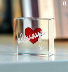 """Love Gifts. Red heart """"always x"""" by Spaceform. #love #always #gifts #glasstoken #loveheart #heart #redheart #anniversarygift #lovetoken #gifthorher #uniquegiftidea #glassheart #spaceform #original"""