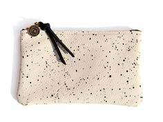 35dbc9f1be88 Mini Pouch- Ivory Leather with Splatter Print from Falconwright White  Leather