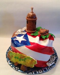 Puerto Rico Birthday Cake - Puerto Rican flag, El Murro, El Coqui..chocolate cake covered in chocolate ganche @brooklynsheavenlycreations 917-363-3617