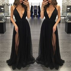 Find More Prom Dresses Information about Galajurken Sexy Deep V Neck Black Prom Dress Long Tulle Party Gowns With Two Slit Side Ballkleider Lang SAU204,High Quality gown lace,China gown ball Suppliers, Cheap gown with lace sleeves from Suzhou Sanjula Dresses Store on Aliexpress.com