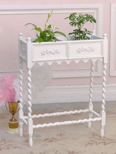 Lovely Vintage Chic Plant Stand with Roses -