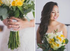Golden yellow and white bridal bouqet | Photographer: Lin and Jirsa Photography