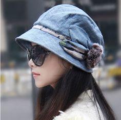 rabbit fur flower bucket hat for women warm fleece hat winter wear