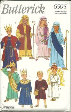 Butterick Pattern 6505 Children's Costume Shepherd King Angel All Sizes New