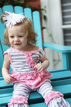 Pink with Grey Stripe Ruffle Capri Sets