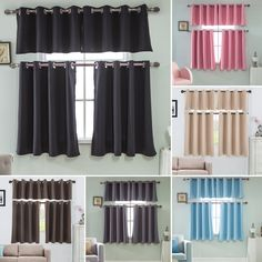 Free 2-day shipping. Buy Solid Blackout Short Curtains Panel, Energy Saving Room Darkening Grommet Top Window Curtain, Cafe Kitchen Bedroom Window Tier and Valance Treatment Decor Brown 74*36cm at Walmart.com Short Window Curtains, High Curtains, Cafe Curtains, Modern Kitchen Curtains, Kitchen Curtain Sets, Modern Curtains, Cafe Curtain Rods, Window Accessories, Valance Window Treatments