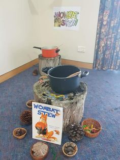 Wombat stew role play using natural materials Preschool Science, Preschool Learning, Teaching, Early Childhood Activities, Childhood Education, Wombat Stew, Toddler Activities, Activities For Kids, Kids Daycare