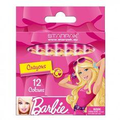 set van 12 gekleurde waskrijtjes van barbie verpakking 11 x 95 1 cm