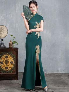 2019 Custom Made Chinese Cheongsam Graduation Dress - CozyLadyWear Dress P, Party Dress, Golden Dress, Custom Made Clothing, Cheongsam Dress, Casual Cosplay, Ao Dai, African Dress, Dance Dresses
