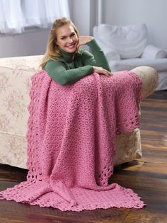 This beautiful springtime afghan would look great in a living room or bedroom. Made with a soft blush rose colored yarn, this crochet afghan pattern is feminine and Victorian, and is a great project for anyone who is looking for a new crochet project