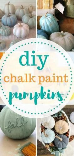 Learn how to make chalk paint pumpkins! DIY Holiday, Holiday Home Decor, Chalk P… Autumn Decorating, Pumpkin Decorating, Decorating Ideas, Craft Ideas, Autumn Crafts, Holiday Crafts, Chalk Paint Projects, Painted Gourds, Fun Diy Crafts