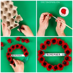 Egg Carton Memorial Day Poppy Wreath - Crafty Morning Have the kids make a gorgeous poppy wreath for Poppy Craft For Kids, Art For Kids, Crafts For Kids, Memorial Day Poppies, Memorial Day Wreaths, Remembrance Day Activities, Remembrance Day Poppy, Wreath Crafts, Flower Crafts