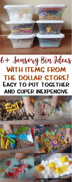 Lots of sensory bin ideas with items all from the dollar store!  #sensorybins #sensorybinideas #sensorybin #indoortoddlerplay