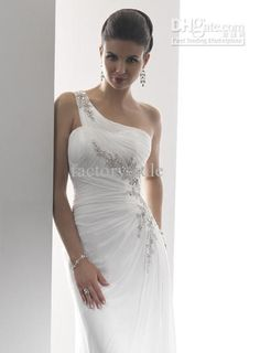 Wholesale Custom Made 2011 New Sexy Sheath One Shoulder Appliques Beaded Chiffon Beach Wedding Dresses MGN119, Free shipping, $87.20-129.95/Piece | DHgate