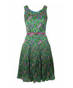 Green & Pink Floral Belted Dress #zulily #zulilyfinds