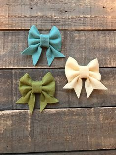 Wool Bow Set | Nylon Headbands or Clips | The Bella Bow by RudysCutiesShop on Etsy